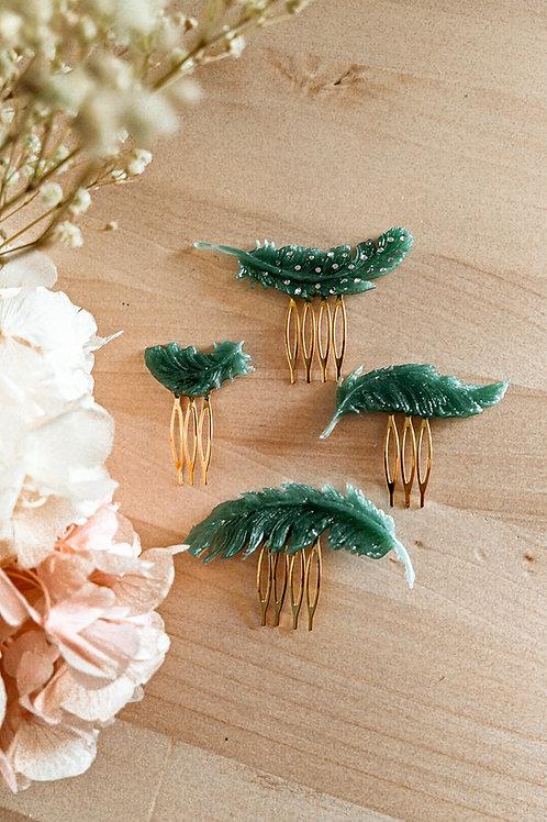 Set de peinas PLUMAS verde jade