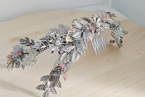 Semicorona doble joya plateada/Double jeweled silver half crown