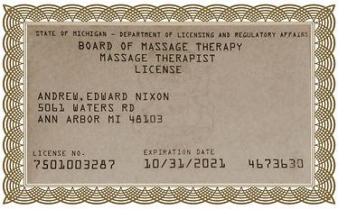 AndrewNixon massage licence framed exp20