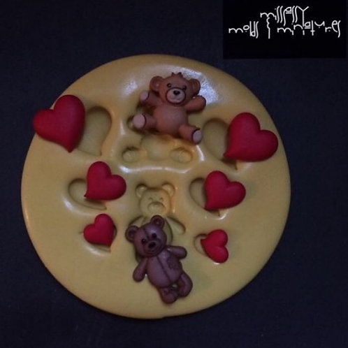 BEARY HEARTS SILICONE MOLD