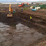 Soil being excavated for bioremediation and japanese knotweed treatment