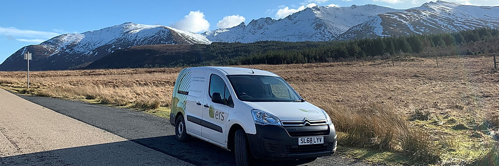 ERS van on site in Arran with snow covered Goatfell in background