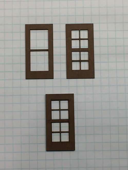 "O Scale W3-York1-1 Window 7/8"" x 1-3/4"", 8-Lite, Framed 2 over 2 (10 pcs.)"