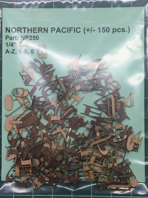 "Northern Pacific 1/4"" (0.250"") High Laser Cut Letter Set (+/- 150 pcs.)"
