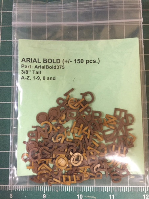 "Arial Bold 3/8"" (.375"") Tall Laser Cut Letter Set (+/- 150 pcs.)"