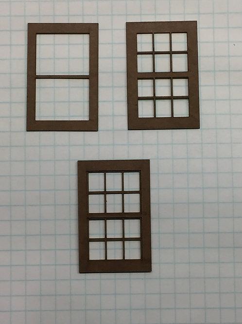 "O Scale W3-York1-2  Window 1-7/32"" x 1-7/8"", 12-Lite, Framed 3 over 2 (10 pc)"