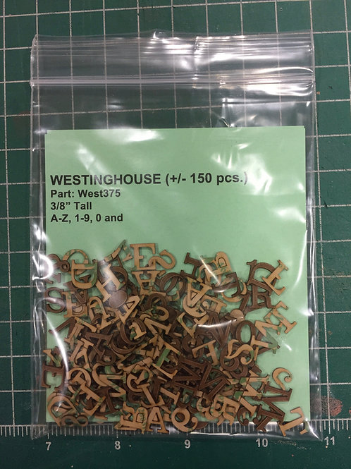 "Westinghouse 3/8"" (0.375"") High Laser Cut Letter Set (+/- 150 pcs.)"