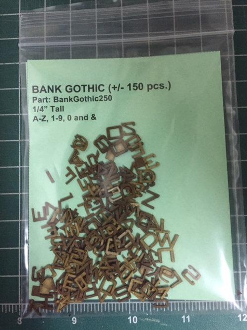 "Bank Gothic 1/4"" (.250"") Tall Laser Cut Letter Set (+/- 150 pcs.)"