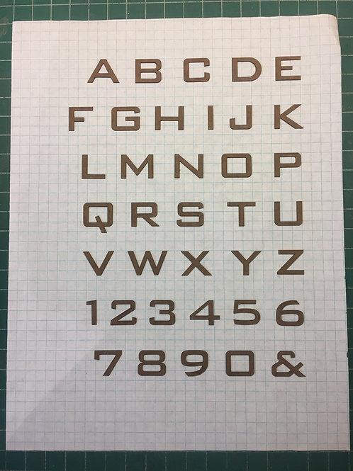 "Bank Gothic 5/8"" (0.625"") High Laser Cut Letter Set (+/- 150 pcs.)"