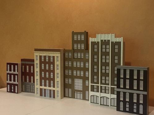 6-Piece Lit StreetScape & CityScape Shadowbox Set - Plasticville Style