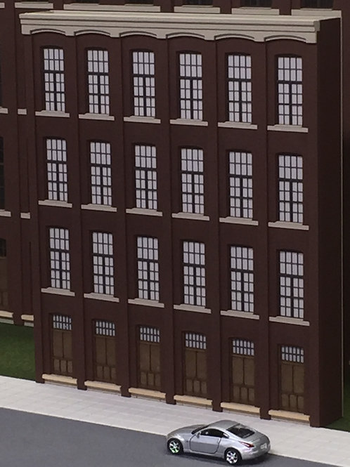 "S Scale Paterson Silk Mill, 4-Story Shadowbox WH-03, 9"" Long, UNLIT"
