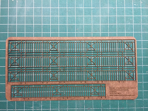"""O Scale Intertrack Fence, 7/8"""" Tall, 28"""" Long"""