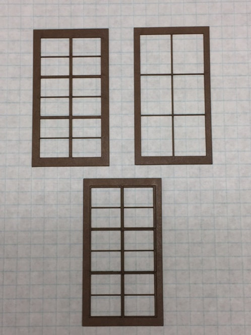"O Scale W1-05 Warehouse Window 1-1/2"" x 2-3/4"", 12-Lite, Framed 3 Over 2, 10 pcs"