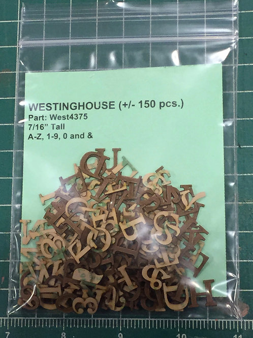 """Westinghouse 7/16"""" (0.4375"""") High Laser Cut Letter Set (+/- 150 pcs.)"""