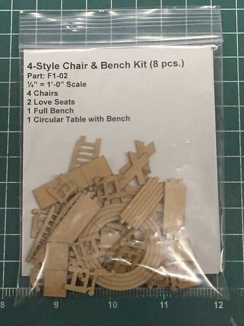 Chair, Love Seat, Full Bench & Circular Table  Kit (8 pcs.)