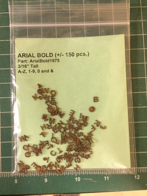 "Arial Bold 3/16"" (.1875"") Tall Laser Cut Letter Set (+/- 150 pcs.)"