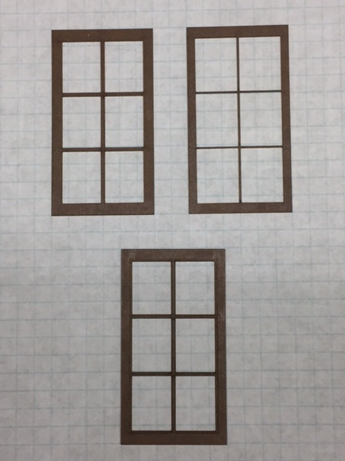 "O Scale W1-07 Warehouse Window 1-1/2"" x 2-3/4"", 6-Lite, Framed 3 over 2, 10 pcs"
