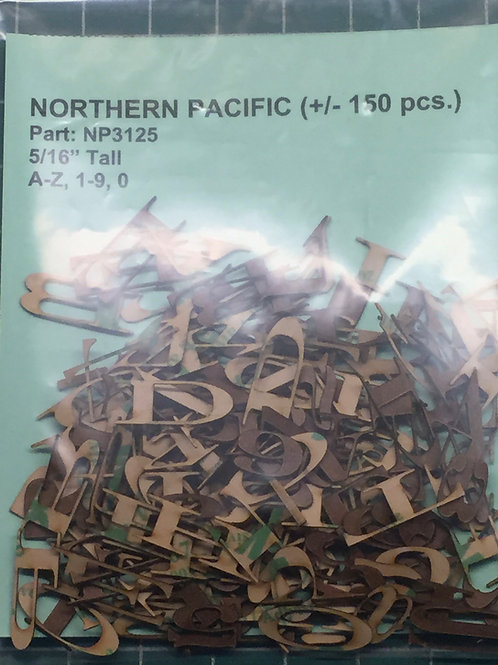 "Northern Pacific 5/16"" (0.3125"") High Laser Cut Letter Set (+/- 150 pcs.)"