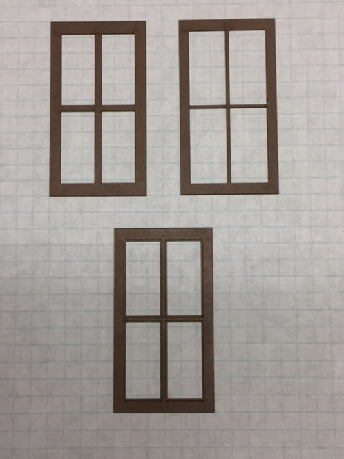 "W1-04 Warehouse Window 1-1/2"" x 2-3/4"", 12-Lite, Framed 2 over 2 (10 pcs)"
