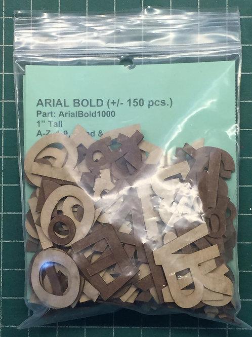 "Arial Bold 1"" (1.000"") Tall Laser Cut Letter Set (+/- 150 pcs.)"