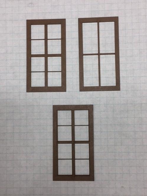 "O Scale W1-06 Warehouse Window 1-1/2"" x 2-3/4"", 8-Lite, Framed 2 over 2, 10 pcs"