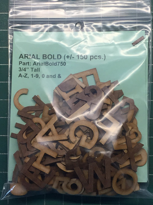 "Arial Bold 3/4"" (.750"") Tall Laser Cut Letter Set (+/- 150 pcs.)"