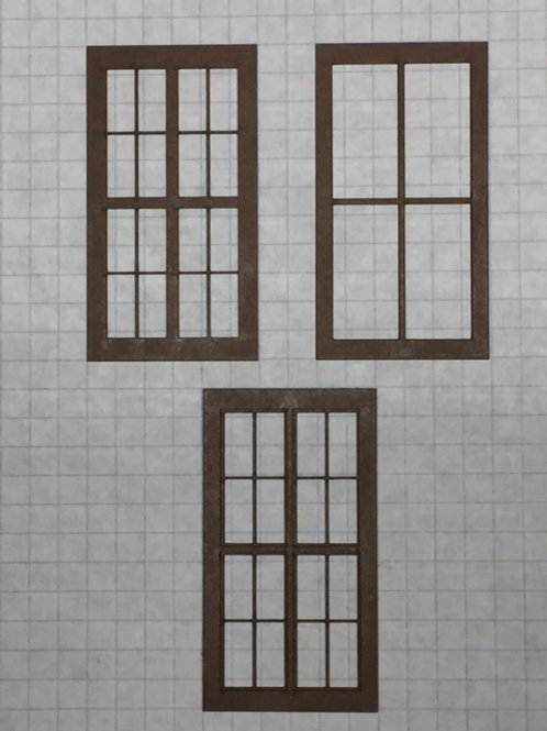 "O Scale W1-03 Warehouse Window 1-1/2"" x 2-3/4"", 16-Lite, Framed 2 Over 2, 10 pcs"