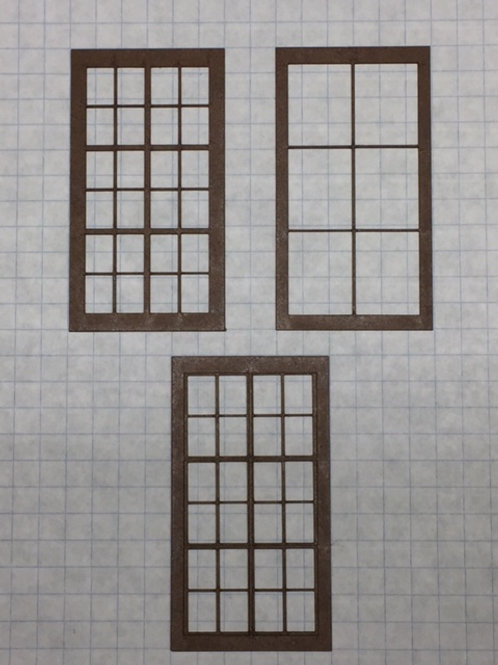 "O ScaleW1-02 Warehouse Window 1-1/2"" x 2-3/4"", 24-Lite, Framed 2 over 2, 10 pcs"