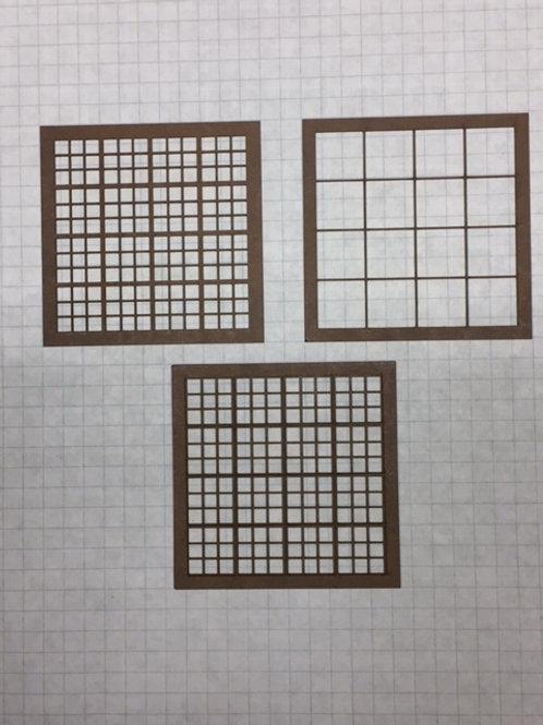 "O Scale W2-01 Warehouse Window 2-3/4"" x 2-3/4"", 144-Lite,Framed 4 Over 4, 10 pcs"