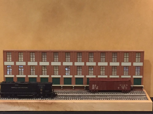 "Trackside Warehouse w/ Loading Shadowbox WH-1B-4, 3-Story, 48"" long"