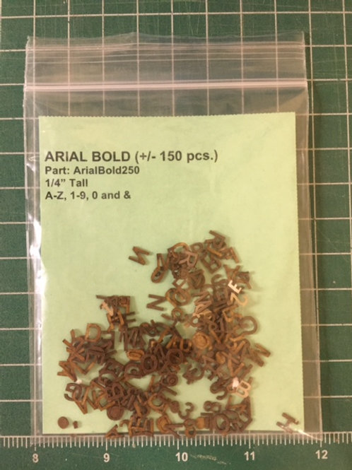 "Arial Bold 1/4"" (.250"") Tall Laser Cut Letter Set (+/- 150 pcs.)"