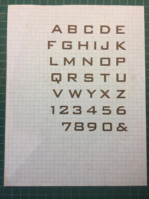 "Bank Gothic 1/2"" (0.500"") High Laser Cut Letter Set (+/- 150 pcs.)"