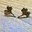 Thumbnail: Ginkgo Leaf Earrings with gold detail