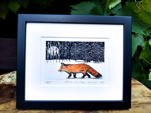Fox in the snow etching