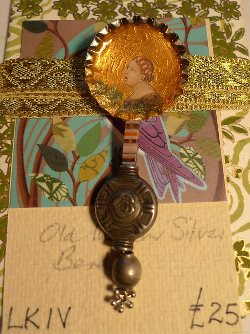 Antique Indian Silver and Vintage Découpage Brooches