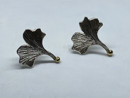 Ginkgo Leaf Earrings with gold detail