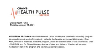 Craine's Health Pulse, New York Announces Midwifery Program at Lenox Hill Hospital!