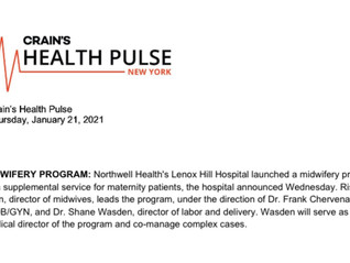 Craine's Health Pulse, New York Announces Midwifery Program at Lenox Hill Hospital!
