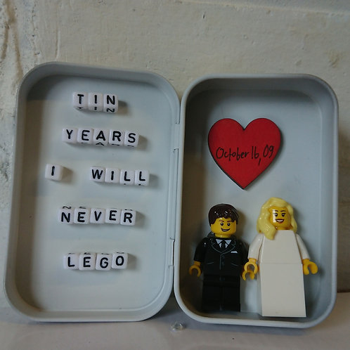 LEGO® Wedding Tin Design, Tin Years, I'll never lego, 10 Year Anniversary