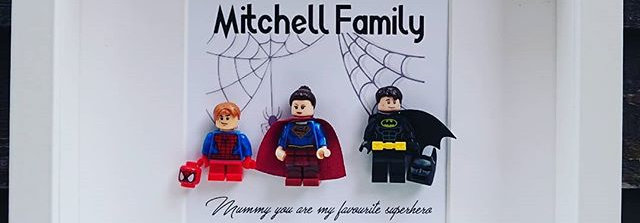 LEGO® Custom Family Superhero Minifigure Inspired Shadow Box Frame
