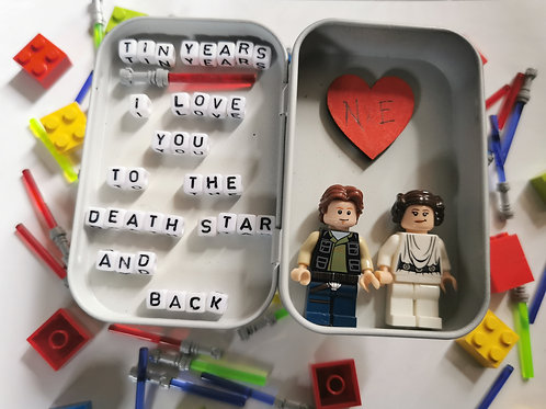 LEGO® Star Wars Inspired Han Solo and Princess Leia Organa Tin Design. 10 Years