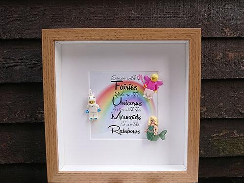 LEGO® Fairy tale Inspired Shadow Box Frame - Fairies, Unicorns, Mermaids