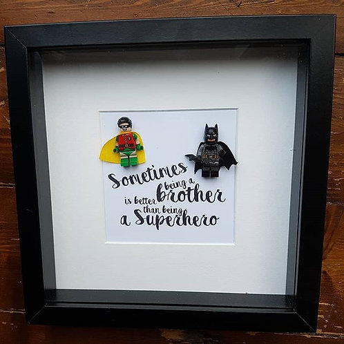 LEGO® Superhero Brothers Inspired Shadow Box Frame