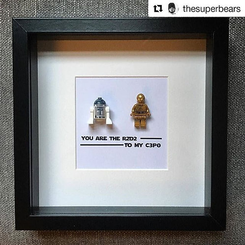 LEGO® Star Wars Inspired R2D2 and C3P0 Shadow Box Frame