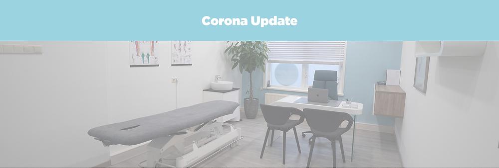 Fysiotherapie praktijk foto met banner Corona Update