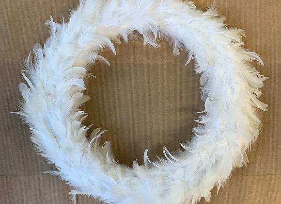 Kranz Feder Weiß 41cm