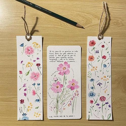 Láminas, tarjetas, marca paginas, cuadros con iniciales (pintados a mano )