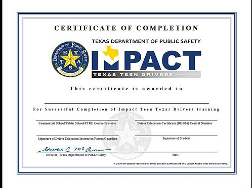 IMPACT CERTIFICATE printout