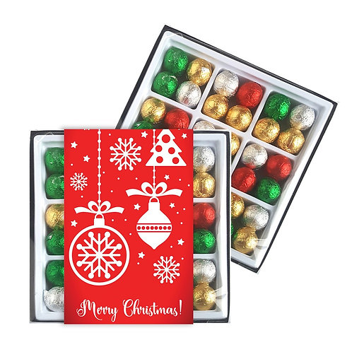 45 Christmas Chocolate Baubles in Gift Box with Branded Custom Sleeve