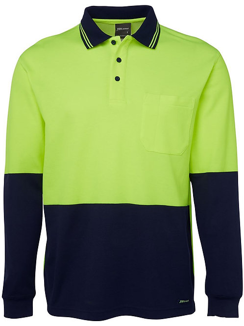 Hi Vis Cotton Back Long Sleeve Polo